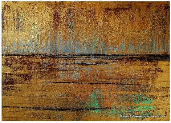 Abstrakte Acrylmalerei, Goldregen. Abstrakt in Spachteltechnik. Lichtreflexe entstehen durch die metallic Farben: Gold, Kupfer, Graphit und Silber.  Größe: 70cm x 50cm x 4cm.  Jahr: 2014  Preis: 480,-