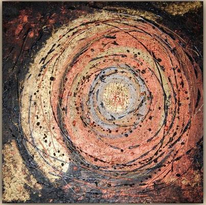 Acrylbild Orient-Twister, Gold und Kupfer geben diesem Acrylgemälde einen besonderen Glanz und Dynamik. Größe 100cm x 100cm x 2cm, Jahr: 2011, Preis: 800€