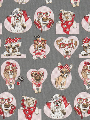 Rockabilly Hunde Grau/rot