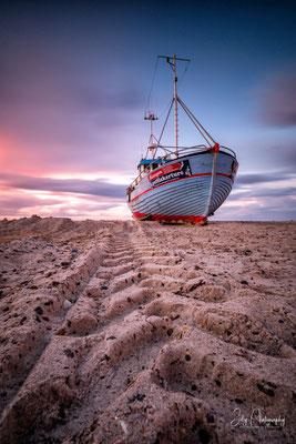 Dänemark / Nordjütland / Vorupør, Fischerboot, Langzeitbelichtung, 2017, © Silly Photography