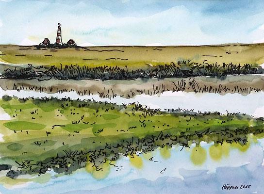 Priel vor Westerhever Leuchtturm, Aquarell-Inky-Skizze