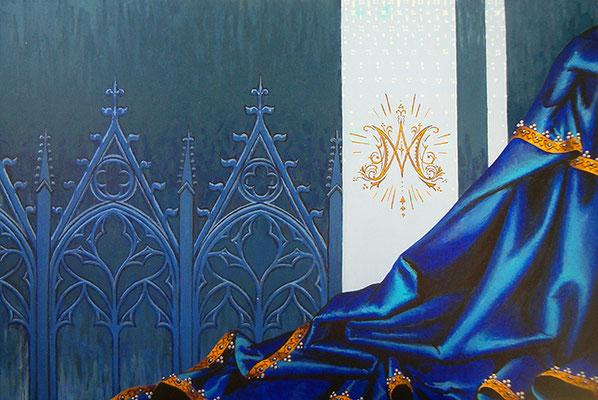 Regina Coeli. Acryl op paneel.  40 bij 61 cm.