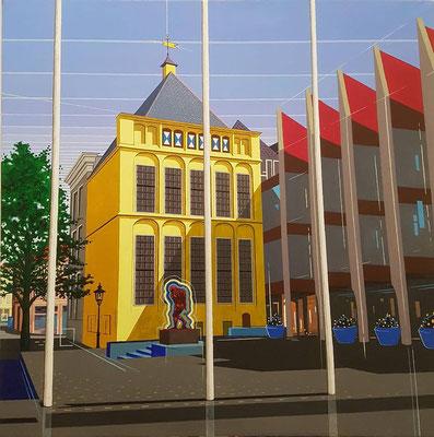 Stadhuis met Adam. Acryl op doek. 60 bij 60 cm.