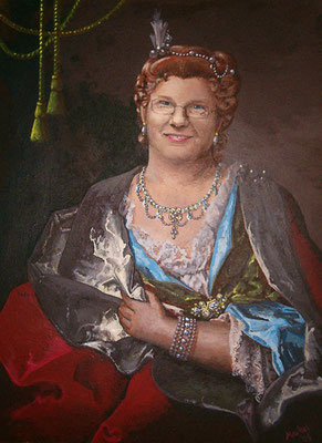 Portret in stijl van Lagrilliere. Acrylverf op paneel 45 x 30 cm.