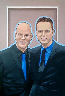Lammert en Dennis. Acryl op paneel. 40 bij 61 cm.