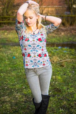 Bio-Shirt Totenkopf/ Rote Rosen #lillestoff