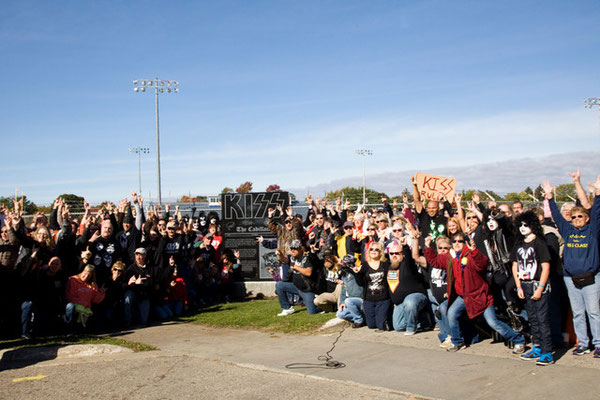 KISS fans were on hand for the monument's unveiling.