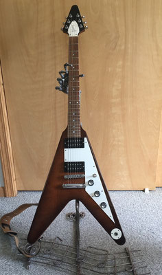 A Gibson Flying V is a perfect fit.