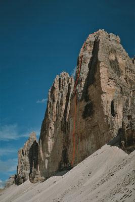 Westliche Zinne mit der Route Alpenliebe © Fritz Miller