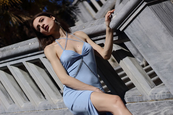 Blue gown with silver chain
