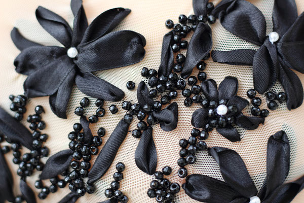 Black beads and ribbon embroidery