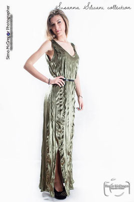 Green backless gown