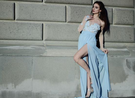 Blue side slit gown