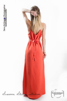 Coral gown back