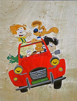 Boule et Bill - tableau en marqueterie - atelier Eclats de bois - Isère