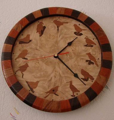 Pendule Oiseaux - pendule en marqueterie - atelier Eclats de bois - 38 Isère