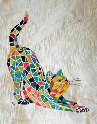 Chat mosaïque - tableau en marqueterie - atelier Eclats de bois - Isère