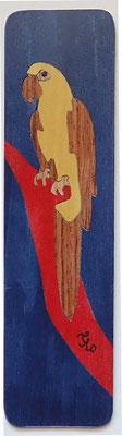 Perroquet - Marque page en marqueterie - atelier Eclats de bois - Isère
