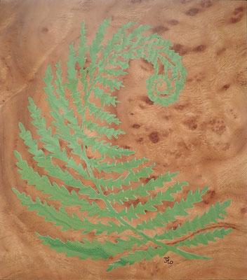 Fougère de printemps - tableau en marqueterie - atelier Eclats de bois - Isère