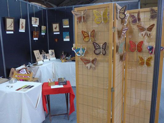 Salon de l'artisanat Valence - Atelier Éclats de bois - marqueterie d'art - Tableaux et papillons