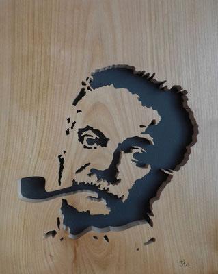 Portrait de Georges Brassens -Chantournage - atelier Eclats de bois - Isère