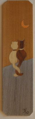 Chats au clair de lune - Marque page en marqueterie - atelier Eclats de bois - Isère