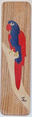 Peroquet - Marque page en marqueterie - atelier Eclats de bois - Isère