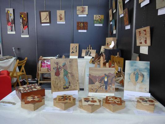 Salon de l'artisanat Valence - Atelier Éclats de bois - marqueterie d'art - Tableaux et boites