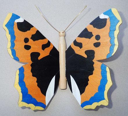 Petite tortue (bois teintés) - papillon en marqueterie - atelier Eclats de bois - Isère