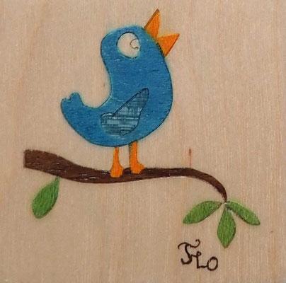 Magnet Oiseau  - marqueterie - Atelier Eclats de Bois - 38 isère