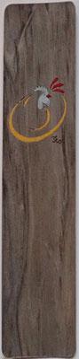 Marque page coq stylisé- marqueterie - Atelier Eclats de Bois - 38 isère