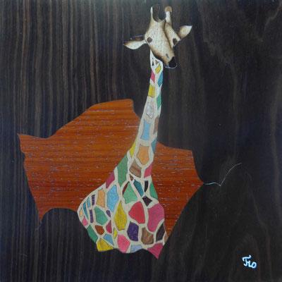 Marqueterie - exposition Biviers 2016 -  Une girafe haute en couleurs