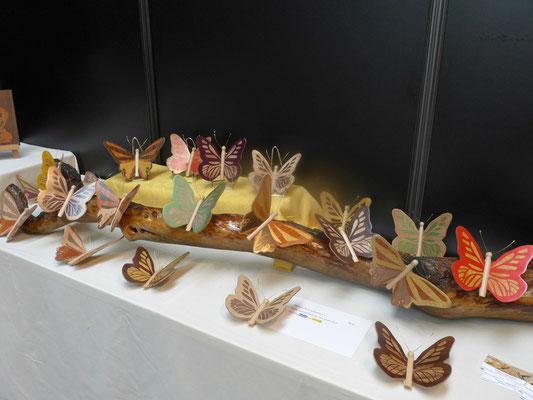 Stand de l'atelier de marqueterie Eclats de Bois : Novembre 2016  - Salon De L'Artisanat de Valence - L'arbre aux papillons