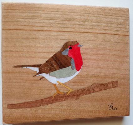 Rouge gorge - tableau en marqueterie - atelier Eclats de bois - Isère