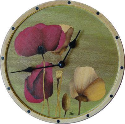 Pendule Coquelicots - pendule en marqueterie - atelier Eclats de bois - 38 Isère