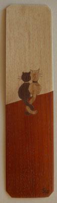 Marque page chats - marqueterie - Atelier Eclats de Bois - 38 isère
