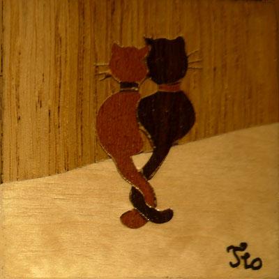 Magnet Chats  - marqueterie - Atelier Eclats de Bois - 38 isère