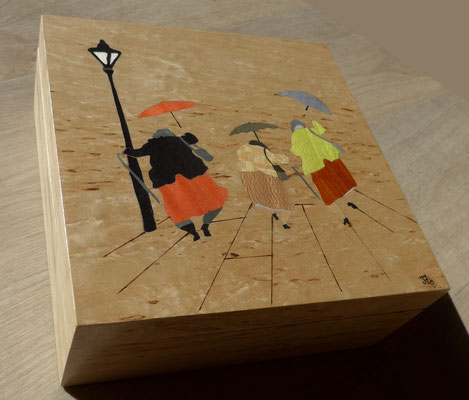 Mamies en folie - boite en marqueterie - atelier Eclats de bois - Isère