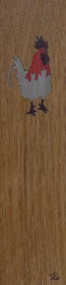 Coq - Marque page en marqueterie - atelier Eclats de bois - Isère