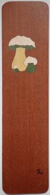Marque page champignon - marqueterie - Atelier Eclats de Bois - 38 isère