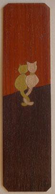 Chats - Marque page en marqueterie - atelier Eclats de bois - Isère