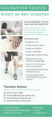 Flyer, Faszientherapie, Thorsten Zellmer
