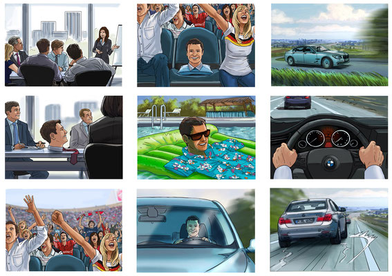 Benjamin von Eckartsberg - Storyboard Mit dem Kopf woanders- Kunde: BMW - Agentur: Interone