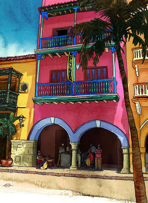 Benjamin von Eckartsberg - Editorial-Illustration: Oldtown in Cartagena, Kolumbien - Kunde: AIDA CRUISES Kundenmagazin