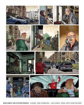 Benjamin von Eckartsberg - Comic-Illustration: Wähl dich zum Helden - Kunde: LKA Hamburg - Agentur: DDB Hamburg