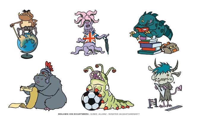 Benjamin von Eckartsberg - Character Design - Monster Hausaufgabenheft - Kunde: Allianz