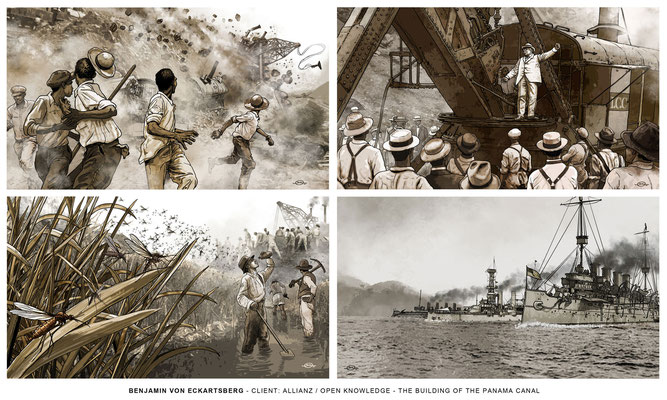 Benjamin von Eckartsberg - Illustrationsserie: Building of the Panama Canal- Kunde: Allianz