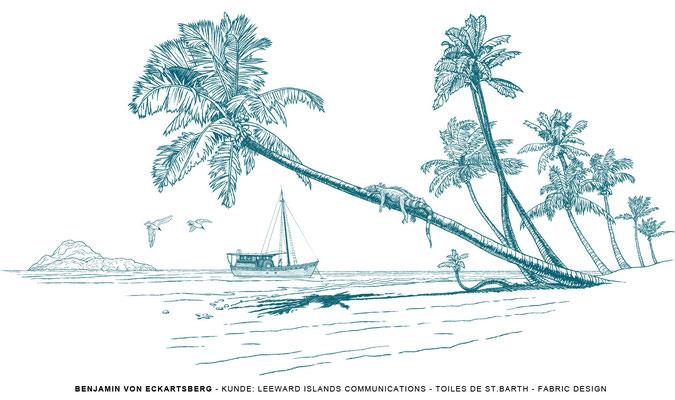 Benjamin von Eckartsberg - Illustration: Stoffdesign Toiles de St. Barth - Kunde - Leeward Islands Communications