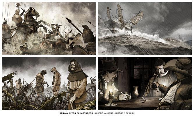 Benjamin von Eckartsberg - Illustrationsserie: History of risk - Kunde: Allianz