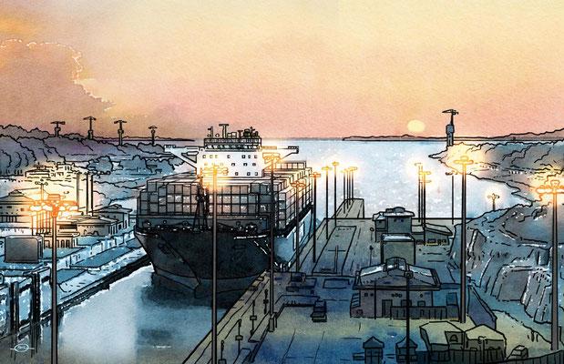 Benjamin von Eckartsberg - Editorial-Illustration: Panama Kanal - Kunde: AIDA CRUISES Kundenmagazin